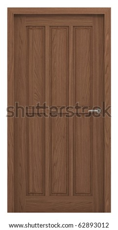 Door, clipping path included, isolated on white, 3d illustration - stock photo