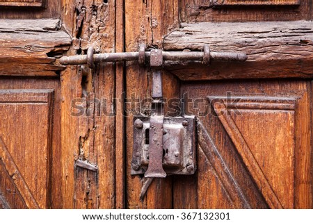 Door closed on the lock and latch - stock photo