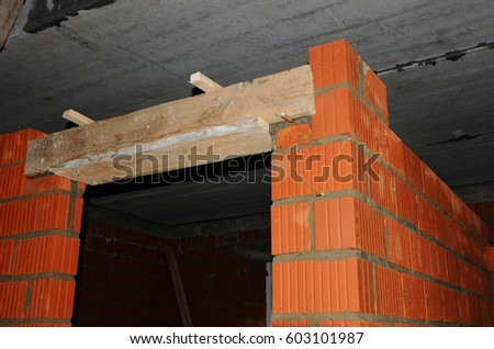 Door concrete lintel with unfinished house construction. & Door Concrete Lintel Unfinished House Construction Stock Photo ...
