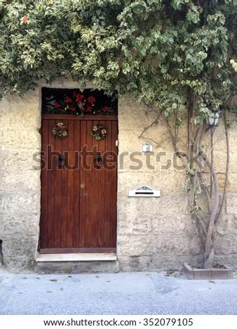 Door decorated for Christmas in Malta - stock photo
