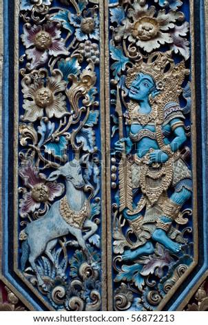 Door detail in a balinese  temple in Ubud, Bali, Indonesia - stock photo
