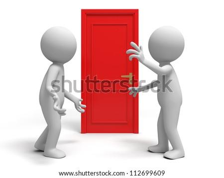 Door/ discuss/ two people discuss in front of a door - stock photo