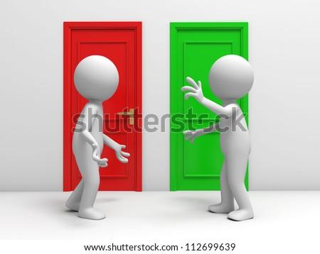Door/ discuss/ two people discuss in front of two doors - stock photo