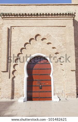 door entrance to the Koutoubia Mosque, Marrakesh - stock photo