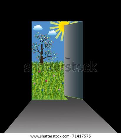 Door from dark room to sunny grassland - stock photo