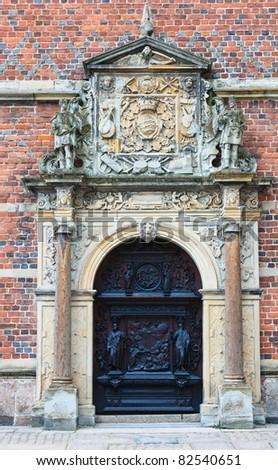 Door from Frederiksborg castle in Hillerod, Denmark - stock photo