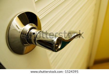 Door Handle Chrome Door Knob - stock photo
