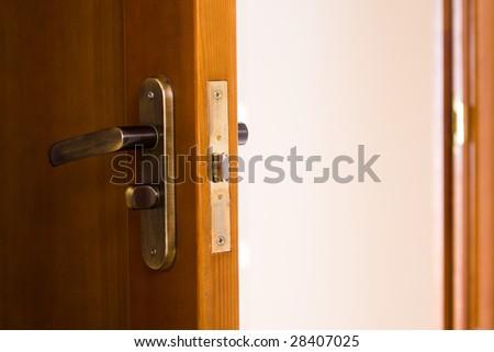 Door handle copper door knob - stock photo