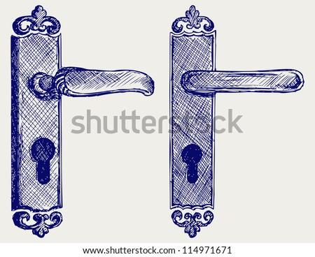 Door handle. Doodle style. Raster version - stock photo