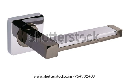 Door handle of silver on a white background side view