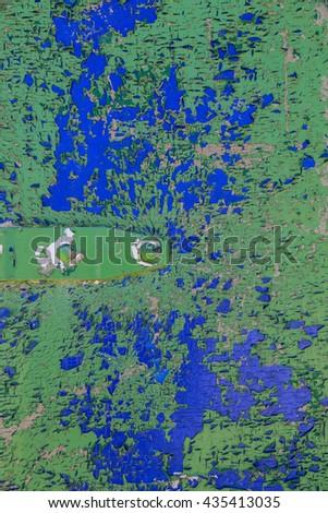 door hinge, blue, green, peeling, paint, - stock photo