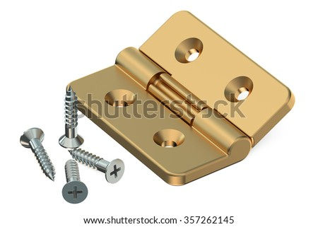 Door Hinge With Screws Isolated On White Background
