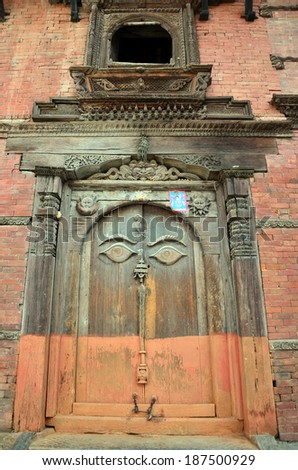 Door in Hanuman Dhoka is a complex of structures with the Royal Palace of the Malla kings at Kathmandu Durbar Square Nepal