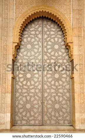Door in Hassan II Mosque in Casablanca, Morocco - stock photo