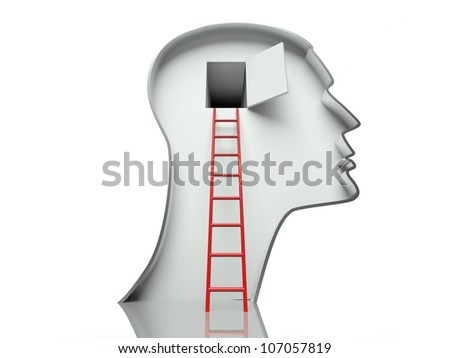 Door in human head and ladder, concept of open mind