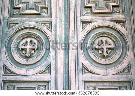 door in italy old ancian wood and traditional                 texture nail - stock photo