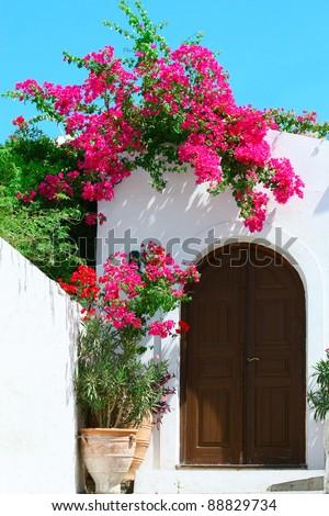Door in Lindos - island Rhodes, Greece - stock photo