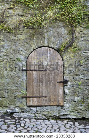 door in the middle of the wall - stock photo