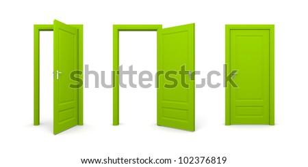Door in various position - stock photo