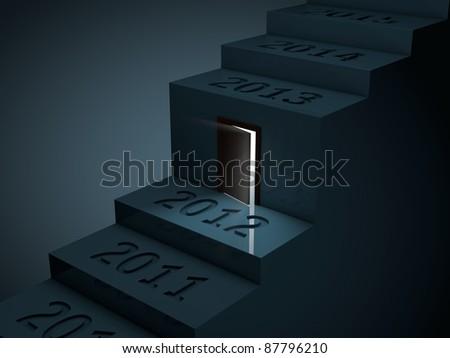door is the stairway of years - stock photo