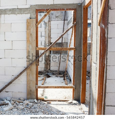 Door Jamb Installation Concrete Wall Stock Photo Royalty Free 565842457 Shutterstock