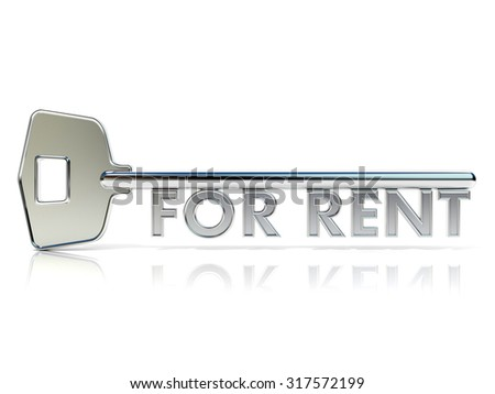 Door key FOR RENT sign. 3D render illustration isolated on white background