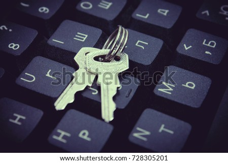 Door key on keyboard