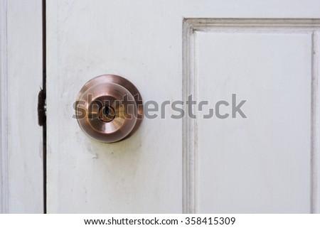 Front View Door Handle White Paint Stock Photo 571784221