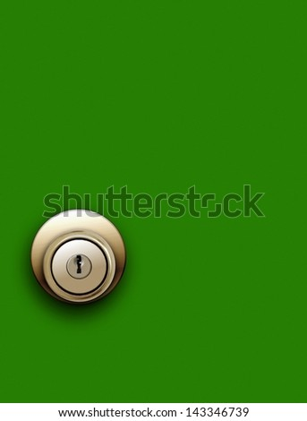 Door knob on green - stock photo