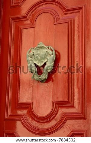 door knob on one of the doors at Mdina, Malta - stock photo