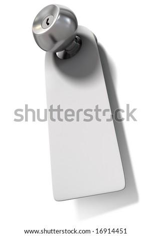 Door knob with blank label - stock photo