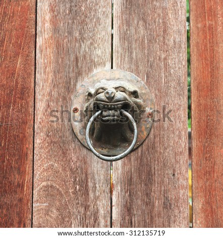 door knocker, A lion head doorknob on a wood plate old door