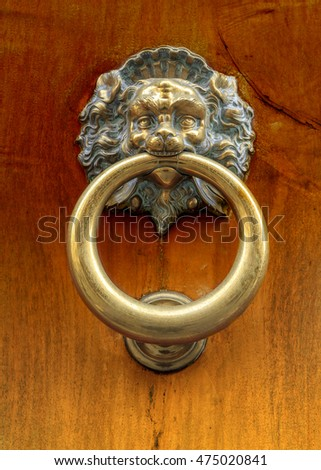 door knocker lion gold
