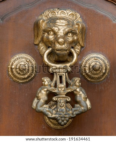 Door knocker of a cathedral, Cathedral of Lima, Lima, Peru - stock photo