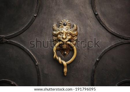 Door knocker with lion on iron door - stock photo