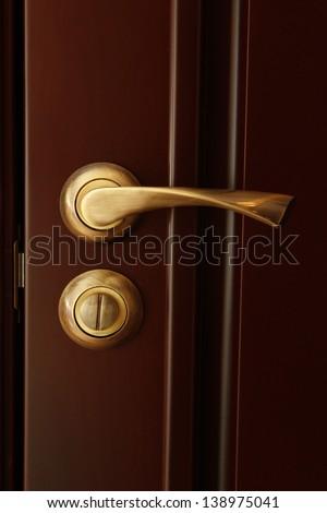Door lock and door handle close-up - stock photo