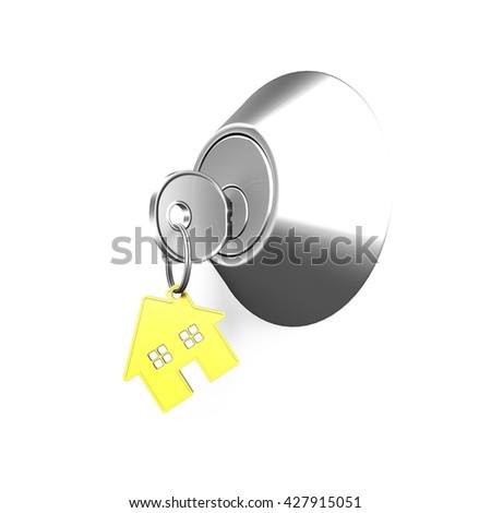Door lock and key with house shape key ring, isolated on white background, 3D illustration. - stock photo