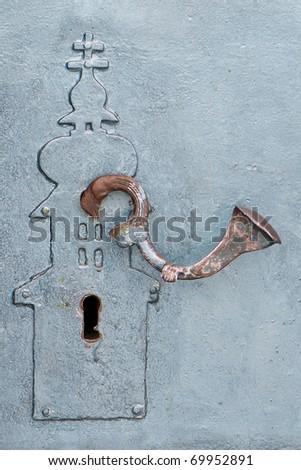 Door-lock in Saint Nicholas Monastery closeup - stock photo