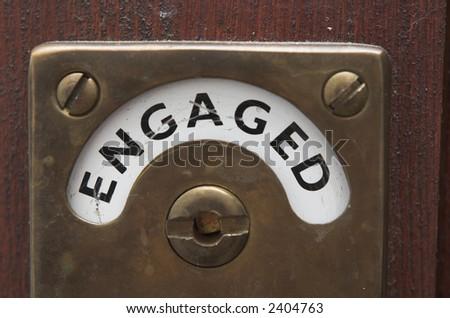 Door lock sign indicates facilities in use! - stock photo