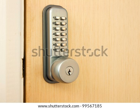 door lock with keypad outside laboratory room