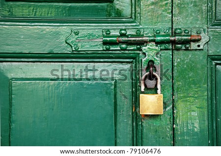 Door locked - stock photo