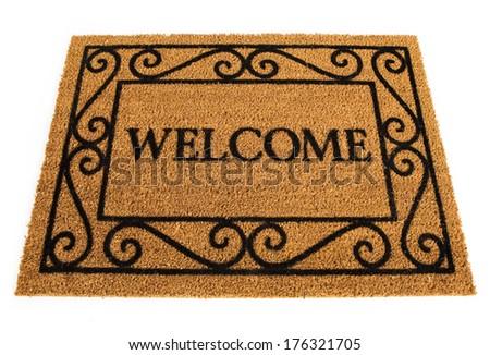 Door Mat: Friendly Welcome Door Mat - stock photo