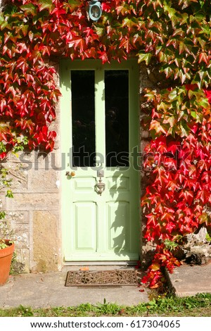 door of a cottage in Normandy, France