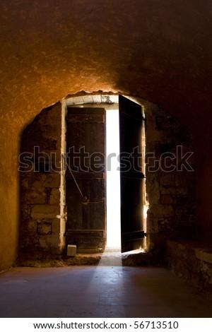 Door of a medieval monastery - stock photo