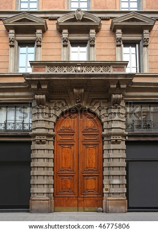 Door of a rich palace - stock photo
