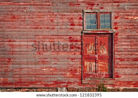 Door of old barn with copy space - stock photo