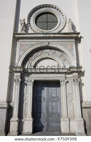 door of santa maria church in busto arsizio