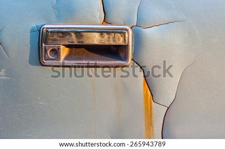 Door of the car is very old - stock photo