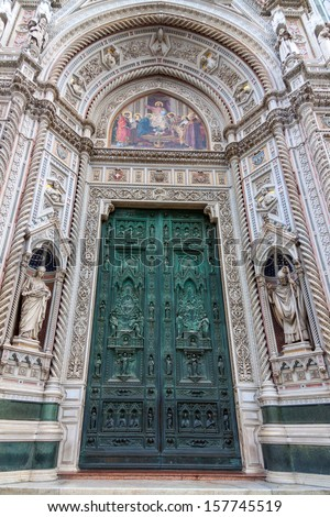 Door of the Cathedral of Santa Maria del Fiore (Duomo)  in Florence, Italy - stock photo
