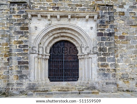 Door of the church of San Vicente de la Barquera, Cantabria, Spain
